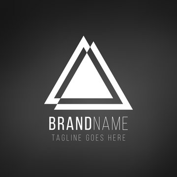 Simple geometri triangle logo design in a modern style. Technology business identity concept. Creative corporate template. Stock Vector illustration isolated on blak background.