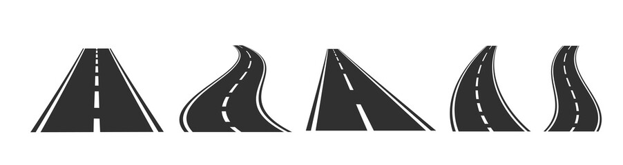 Asphalt road set on white background. Vector illustration.