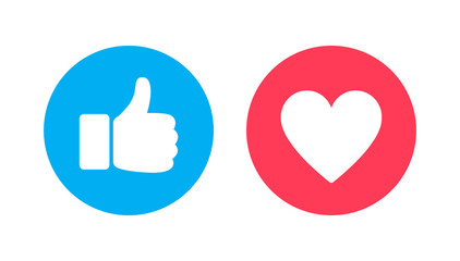 Thumbs up and heart, social media vector icon