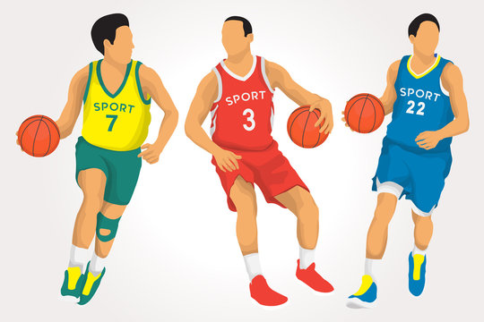 Basketball Players in Vector Illustration
