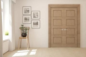 Empty room in white color with wooden door. Scandinavian interior design. 3D illustration