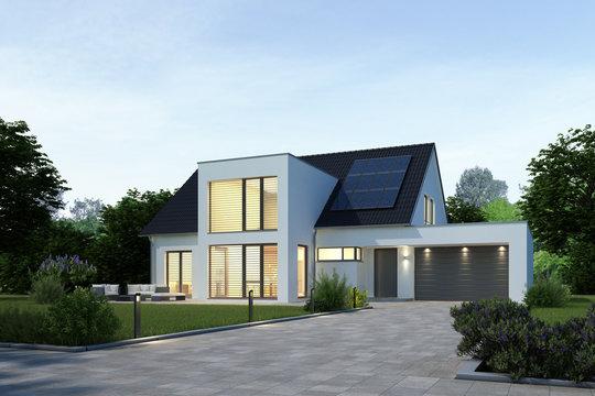 Moderne Villa am Abend