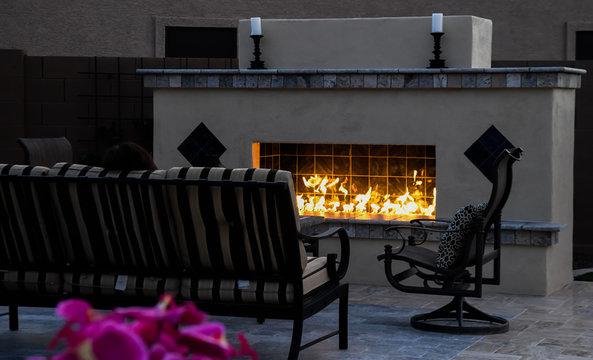 outdoor fireplace on a desert winter.