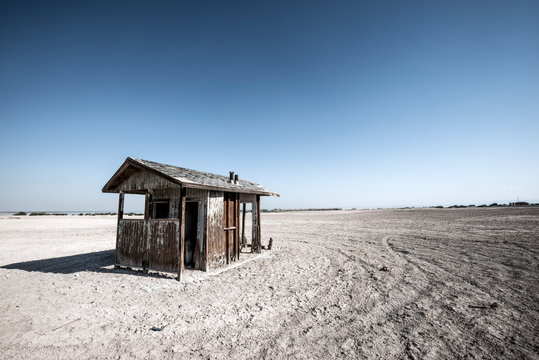 An abandoned bathroom wastes away in the desert near the shore of the Salton Sea, California.