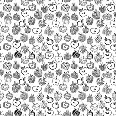 Apple black and white seamless pattern. Hand drawn abstract apples fruit in cute doodle style. Background for kitchen and food design.