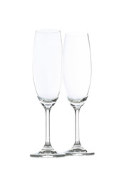 Canvas Prints Bar Champagne glasses isolated on white background. Kitchen, serving