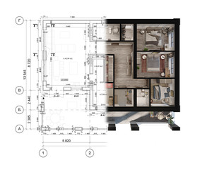 Obraz 3d rendering of a modern private house located on the architectural technical drawing - fototapety do salonu