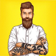 Keuken foto achterwand Pop Art Vector pop art illustration of a brutal bearded man, macho with tatoo