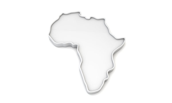 Simple white 3D map of Africa. 3D Rendering