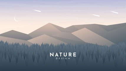 Fototapete - Forest and mountains landscape. Layered style. Evening sunset. Website or game template. Woods and hills. Trees near rocks. Clean sky. Polygonal minimalist design. Triangle shapes. Travel concept