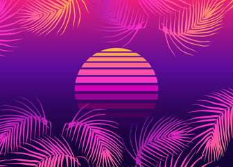 Wall Murals Violet Retrofuturistic landscape with palm leaves and sunset sphere. Vaporwave, retrowave style background. Vector illustration.