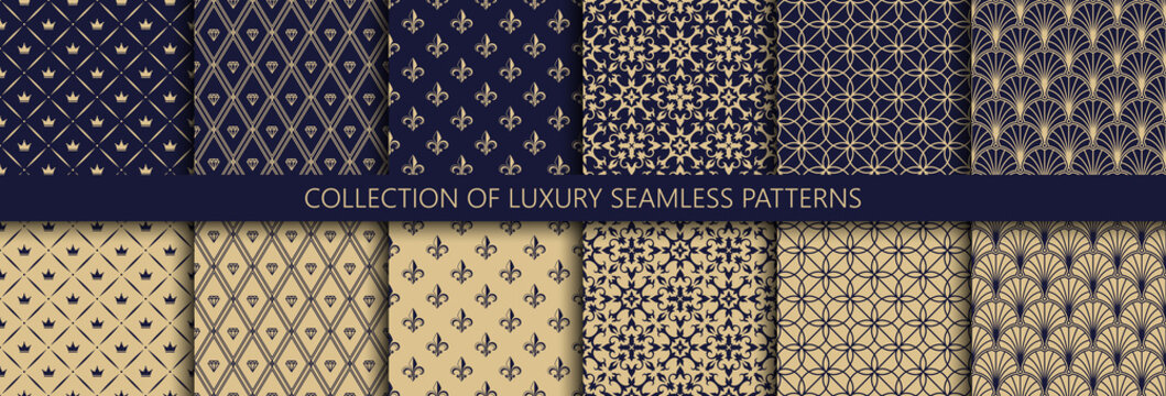 Set of vector seamless luxury patterns. Collection of ornamental patterns in navy blue and gold colors.