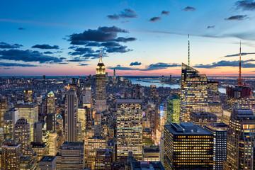 USA, New York, New York City, View of Manhattan at sunset Fototapete