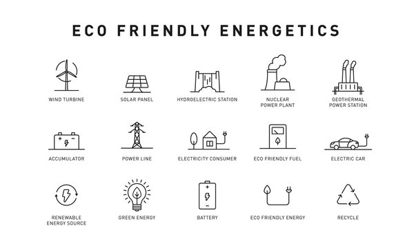 Set of green energy thin line icons. Icons for renewable energy, green technology. Design elements for you projects. Vector illustration.