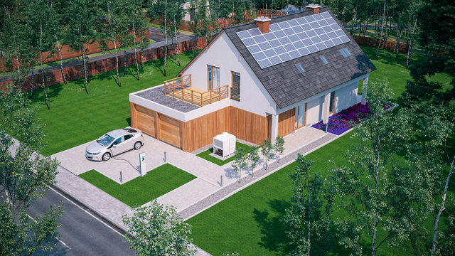 charge electric car at home in suburban residential neighbourhood 3d rendering