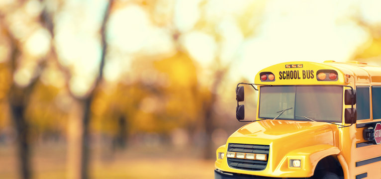 Yellow school bus outdoors. Transport for students