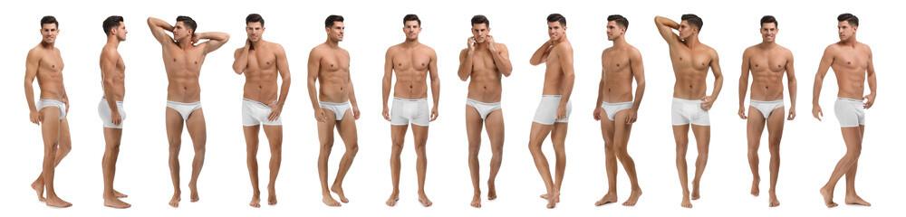 Collage of man in underwear on white background. Banner design
