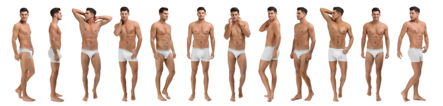 Collage of man in underwear on white background. Banner design