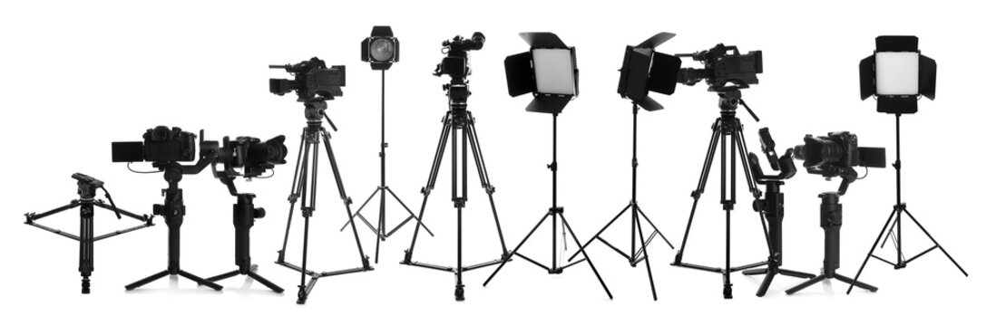 Collage with modern professional equipment on white background. Video production