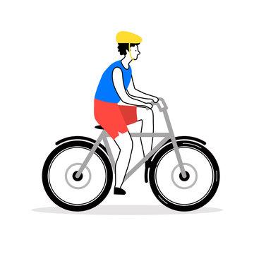 Young man riding a bike happy flat cartoon