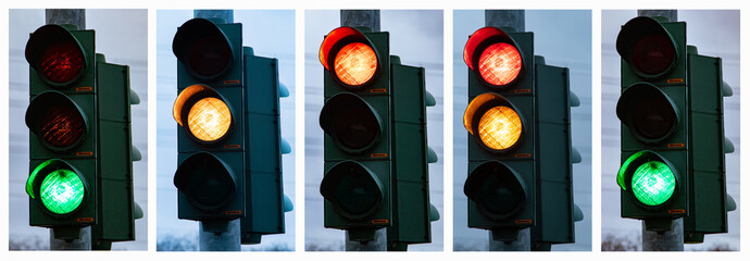sequence of traffic lights in Germany Fototapete