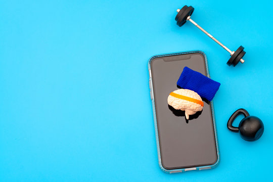 Brain training, neurology improvement app and mind workout concept with human brain with sweatband, barbell and free weights and smartphone isolated on blue background with copy space