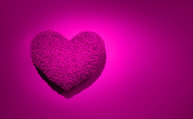 Fotoväggar - Beautiful purple fluffy heart shaped pillow backdrop. Beauty holiday pink heart, flatlay. Wedding card design. Love, St. Valentine's Day background. Flat lay