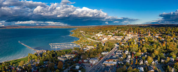 Aerial view of Petoskey in early Autumn Wall mural