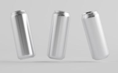 16 oz. / 500ml Aluminium Beer / Soda / Energy Drink Can Mockup - Three Cans.  3D Illustration