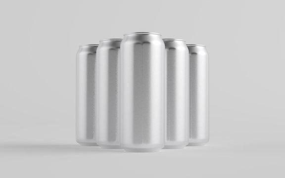 16 oz. / 500ml Aluminium Beer / Soda / Energy Drink Can Mockup - Multiple Cans.  3D Illustration