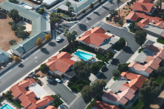Aerial view of houses in Palm Springs