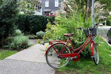 Aluminium Prints Bicycle Red bike on a street