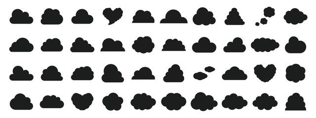 Black and white cloud icon set Fototapete