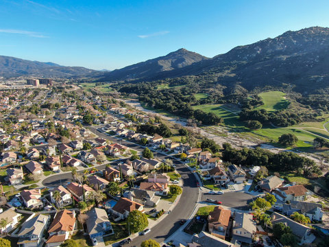 Aerial view of residential town during blue sunny day in Temecula, California, USA.