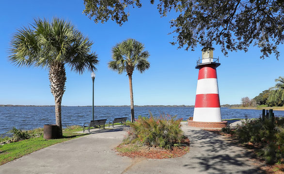 Mount Dora Lighthouse located at the Port of Mount Dora in Grantham Point Park, Florida, a very popular tourist destination.
