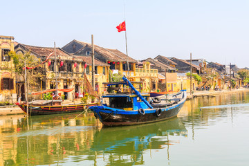 Traditional fishing boat moored on the river