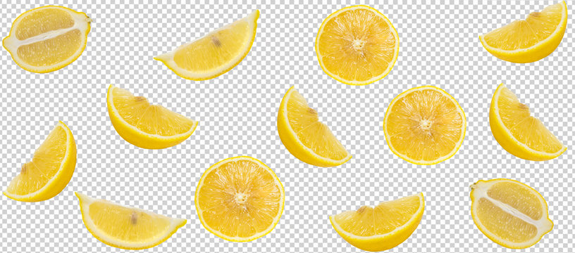 Minimal flat lay lemon slide isolated with clipping path on transparent background. art design, Pattern with ripe creative summer concept. full of lemon slide style