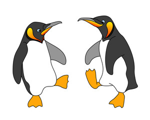 Wall Murals Birds, bees funny dancing of cute emperor penguins with yellow beaks & paws, seabird for logo, emblem, color vector illustration with black contour lines isolated on white background in cartoon & hand drawn style