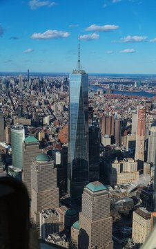 Cityscape With One World Trade Center Against Sky