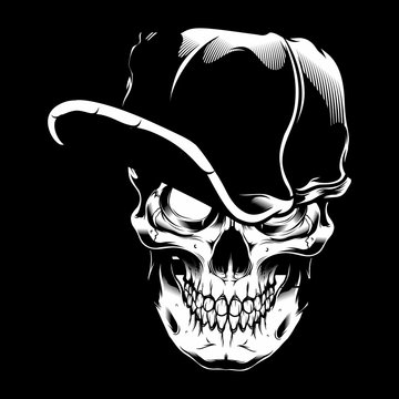 vector illustration skull wearing cap,isolated easy to edit