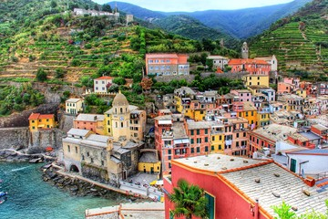 Canvas Prints Liguria RIVER WITH TOWN IN BACKGROUND