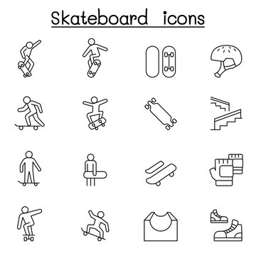 Skateboard icon set in thin line style
