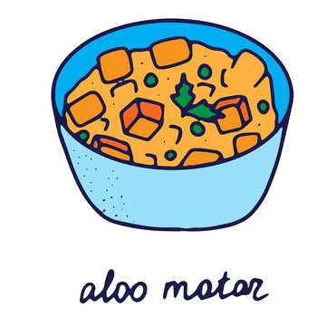 Hand drawn isolated indian food icon. Color fill illustration of indian dish. Potatoes and peas punjabi dish. Aloo matar.
