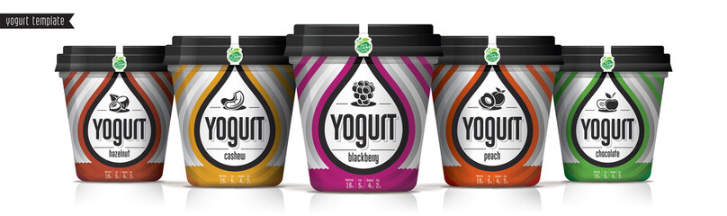 Yogurt vector packaging design. Fruit and nuts yogurt set.
