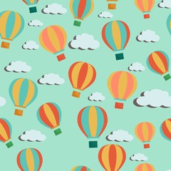 Bright colorful cartoon vector seamless pattern with hot air balloons and clouds