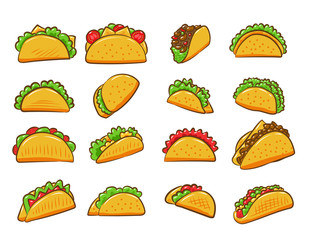 Taco vector set collection graphic clipart design