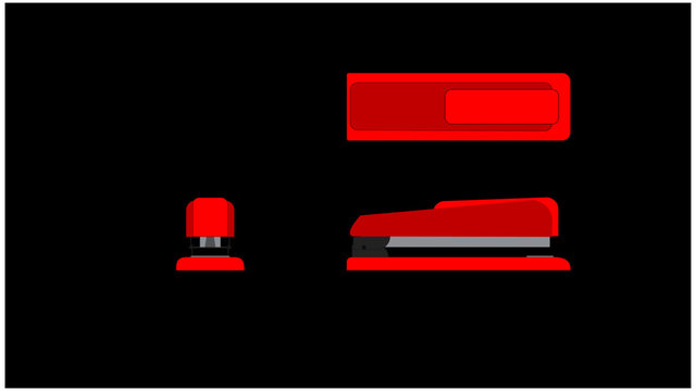 Isometric 3 views of a red basic office stapler.  Front View, Side view and top view in groups on layers for easy isolation