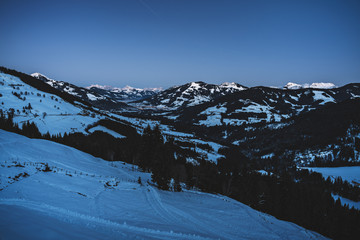 Winter evening in the austrian alps