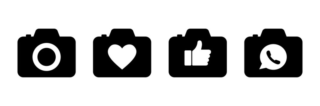 Camera heart thumb up message bubble social media set icons. Vector isolated icons. Network black icons. Communication icon.