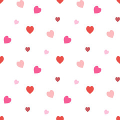 Seamless pattern in stylish creative red and pink  hearts on white background for fabric, textile, clothes, tablecloth and other things. Vector image.